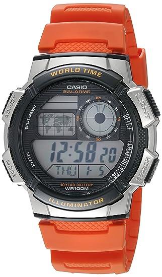 Casio - Reloj casual de resina para hombre con mecanismo de cuarzo, 10 años de batería, color naranja, modelo AE-1000W-4BVCF: Casio: Amazon.es: Relojes