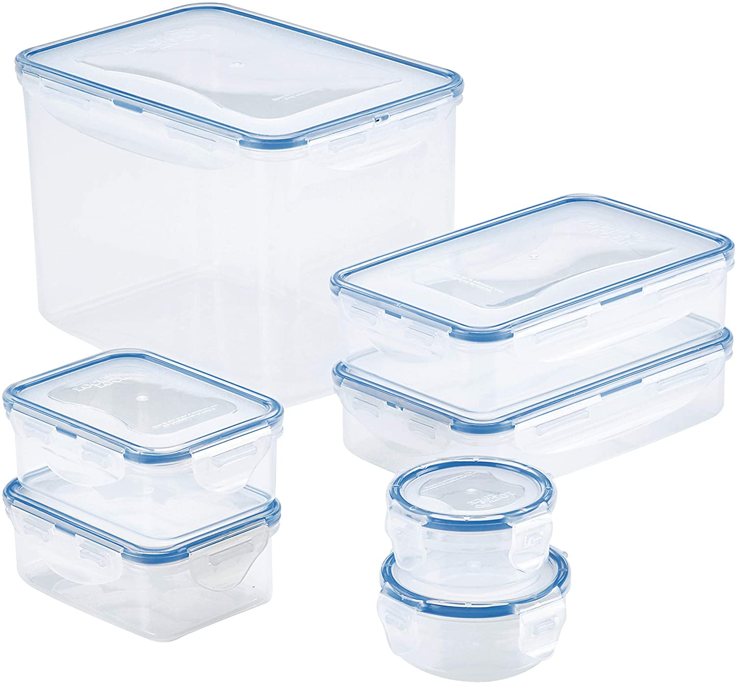 LOCK & LOCK Easy Essentials Food Storage lids/Airtight containers, BPA Free, 14-Piece, Clear