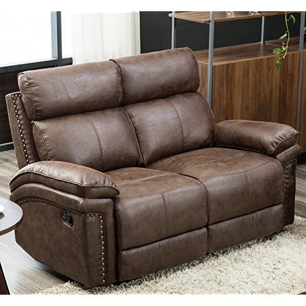 Harper & Bright Designs Living-Room Sectional Recliner Sofa Set (Brown) (Loveseat)