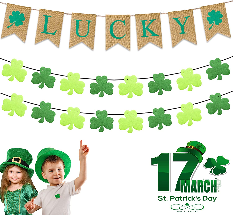 Blessings Sign St.Patty/'s Glitter Hat Motivational Art Shamrock Paper Weight 4 Leaf Clover Motivational Decor Luck of The Irish