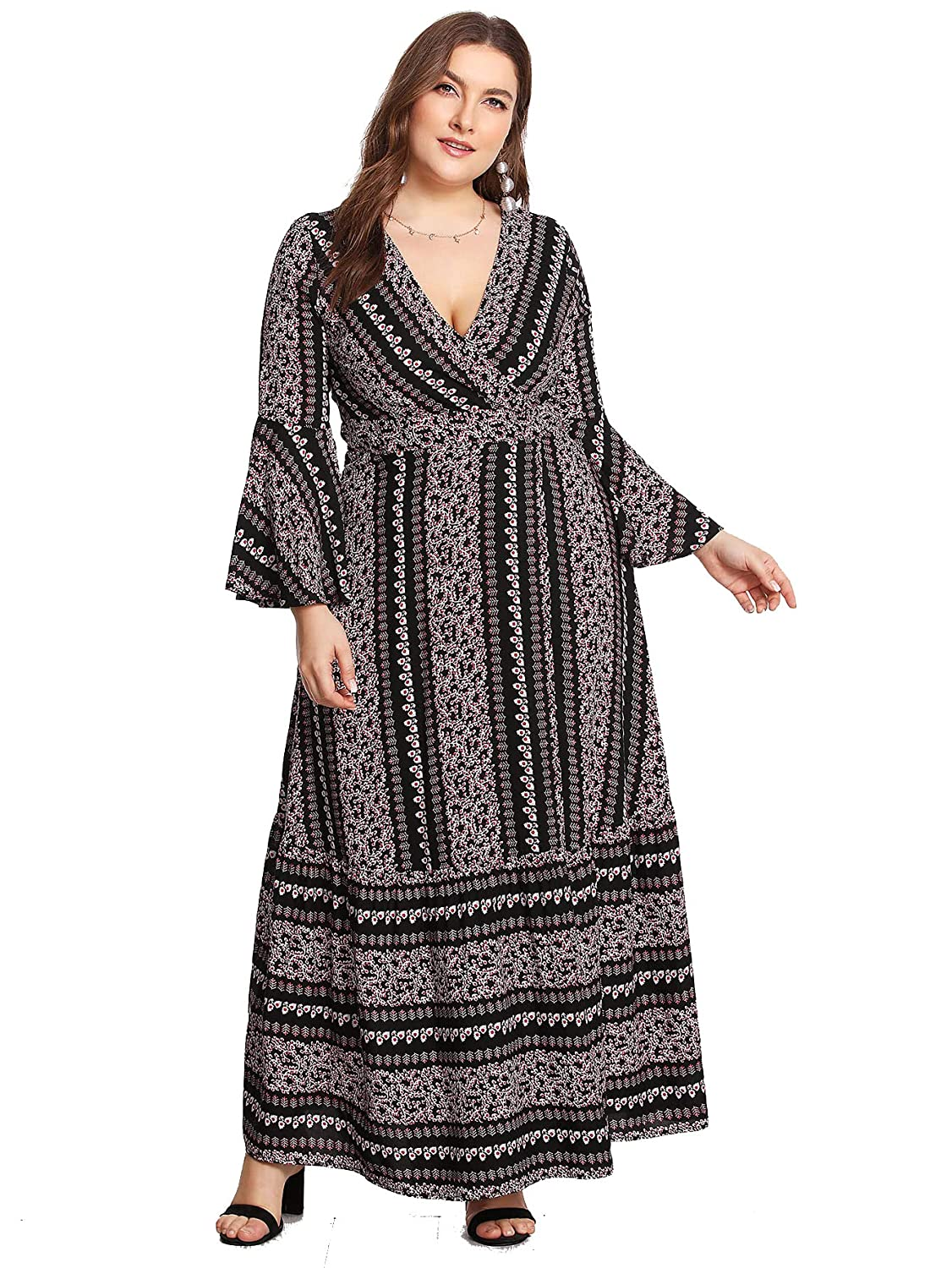 e7e67e8d0c14d Milumia Plus Size Party Dress Flounce Flared Long Sleeves Maxi Dress  Evening Night Out Dress at Amazon Women s Clothing store