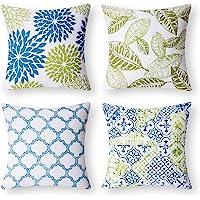 "PHANTOSCOPE New Living Blue&Green Decorative Throw Pillow Case Cushion Cover 18"" x 18"" 45 x 45 cm Set of 4"