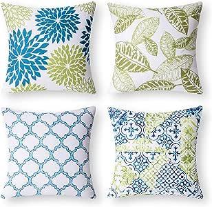 Phantoscope Set of 4 New Living Series Yellow and Grey Decorative Throw Pillow C