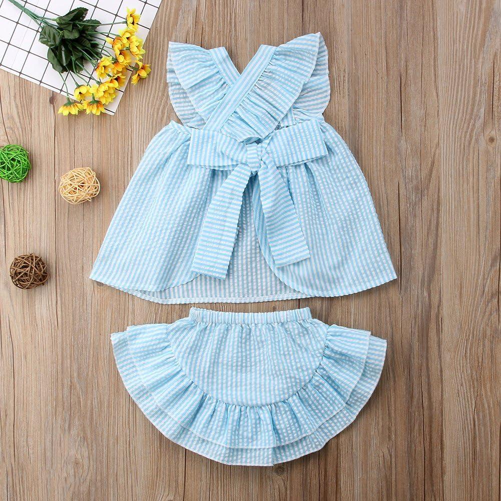 Ruffle Shorts Tutu Prom Skirt Outfit Set SunnyBaby Baby Girls Stripe Sleeveless Back Cross Top