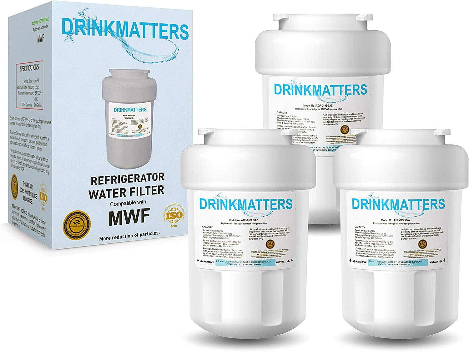 DRINKMATTERS Compatible Refrigerator Water Filter Replacement for GE MWF SmartWater MWFINT MWFP MWFA GWF HDX FMG-1 GSE25GSHECSS WFC1201 RWF1060 and Kenmore 9991 - NSF 53&42&372 Certified - PACK of 3