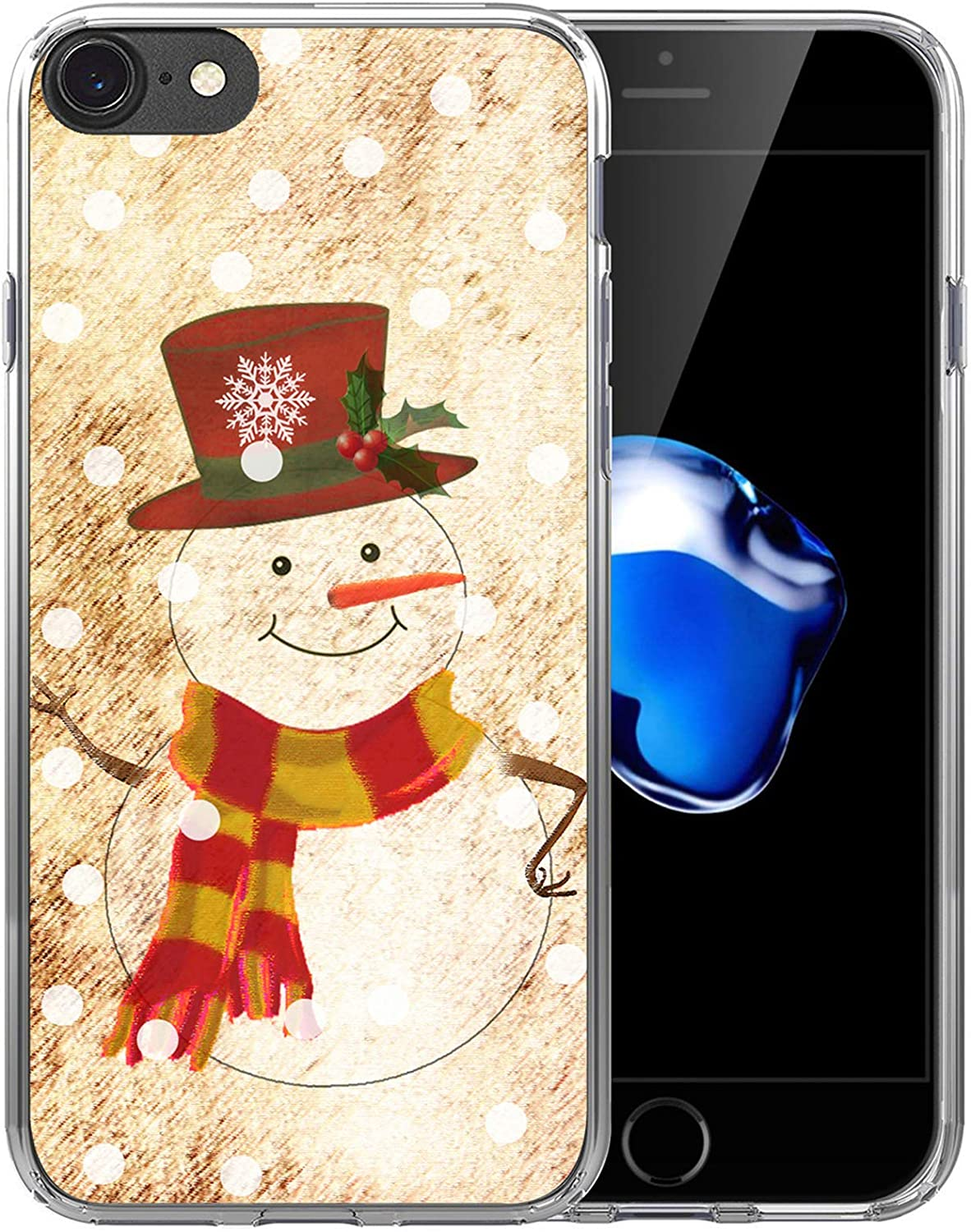 Case for iPhone SE 2020 & 8 & 7 Christmas Snowman/IWONE Rubber Protective Skin Transparent Cover Shockproof Compatible with iPhone 7/8/SE 2 Christmas Theme Design Cute Scene Story Gift Present