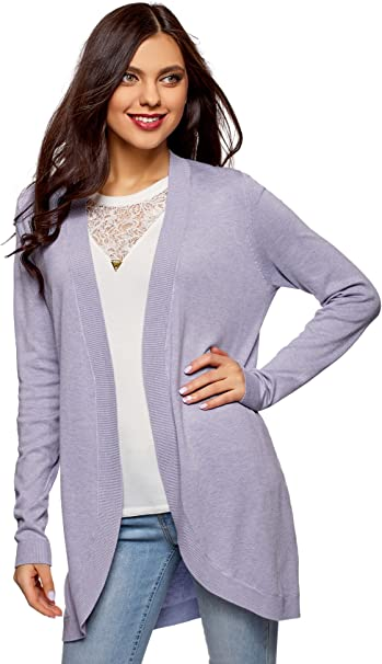 oodji Collection Donna Cardigan Largo Senza Chiusura