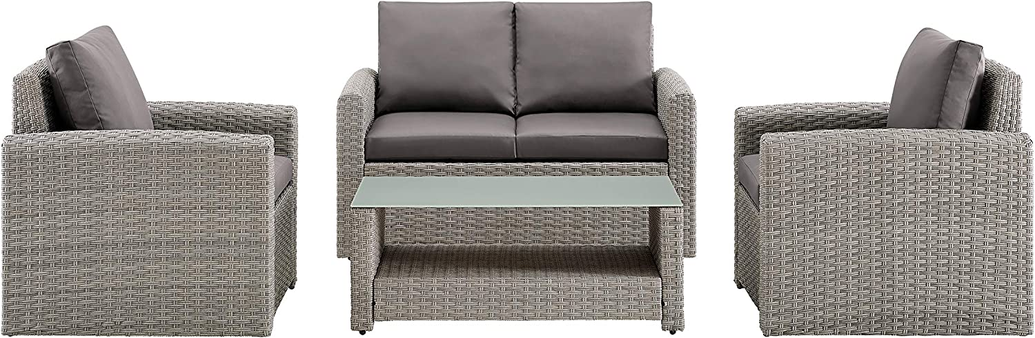 Pulaski Wicker-Look Upholstered 4 Piece Entertaining Set Outdoor Furniture, Grey