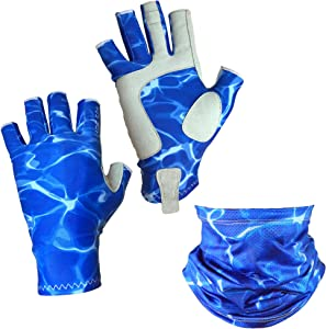 Adept Tackle UPF50+ Fingerless Fishing Gloves for Men and Women, with Fishing Neck Gaiter, UV Protection Gloves, Fly Fishing Gloves, Sun Gloves for Kayaking, Hiking, Canoeing and SUP