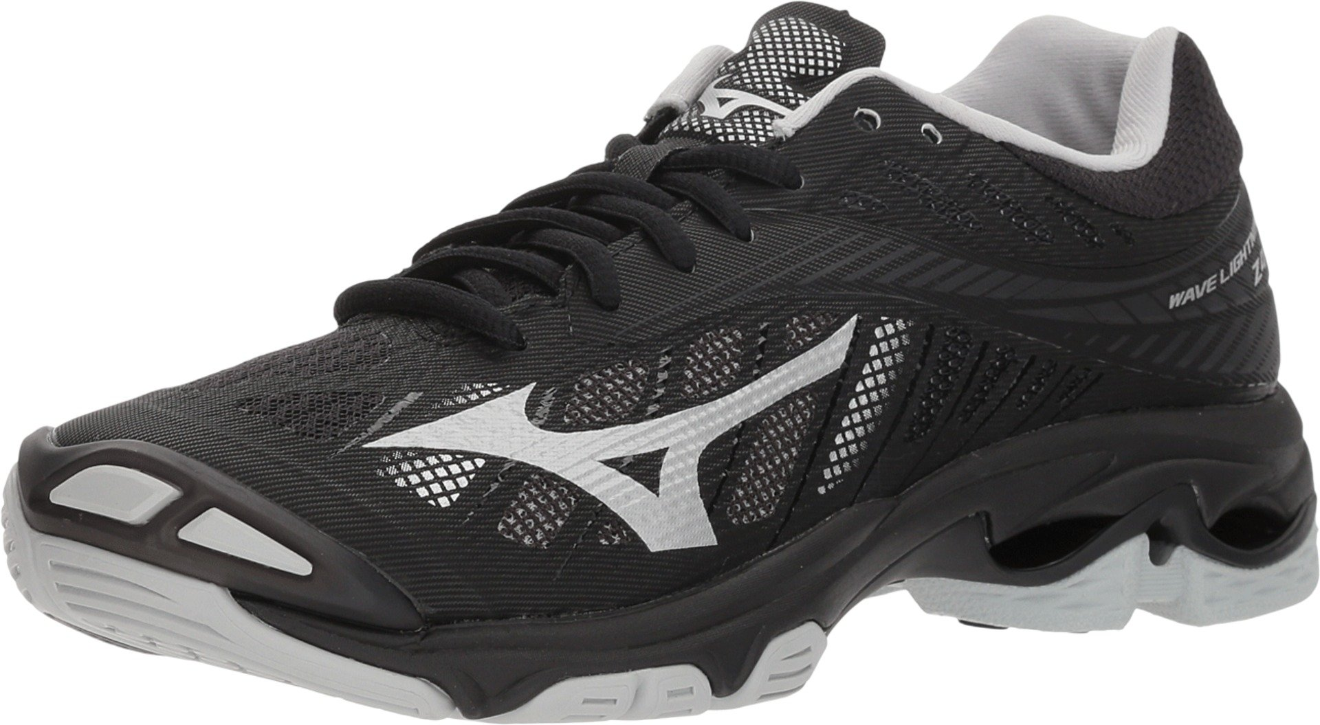 Mizuno (MIZD9) Women's Wave Lightning Z4 Volleyball Shoe, Black/Silver, Women's 7 B US