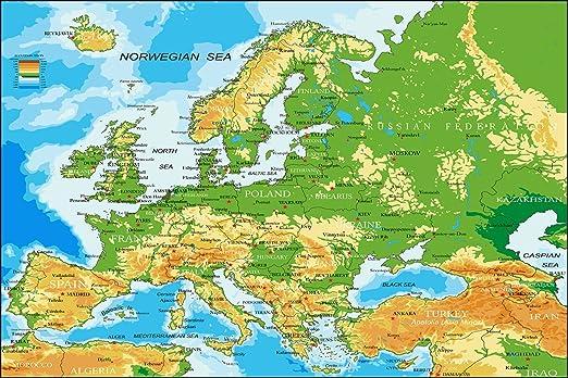 Postereck Poster 1031 Europa Karte Laender Hauptstaedte