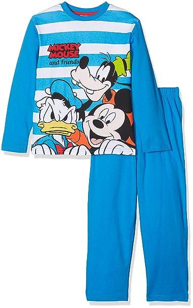 Mickey Mouse Long Pyjama, Conjuntos de Pijama para Niños, Azul (Blue),