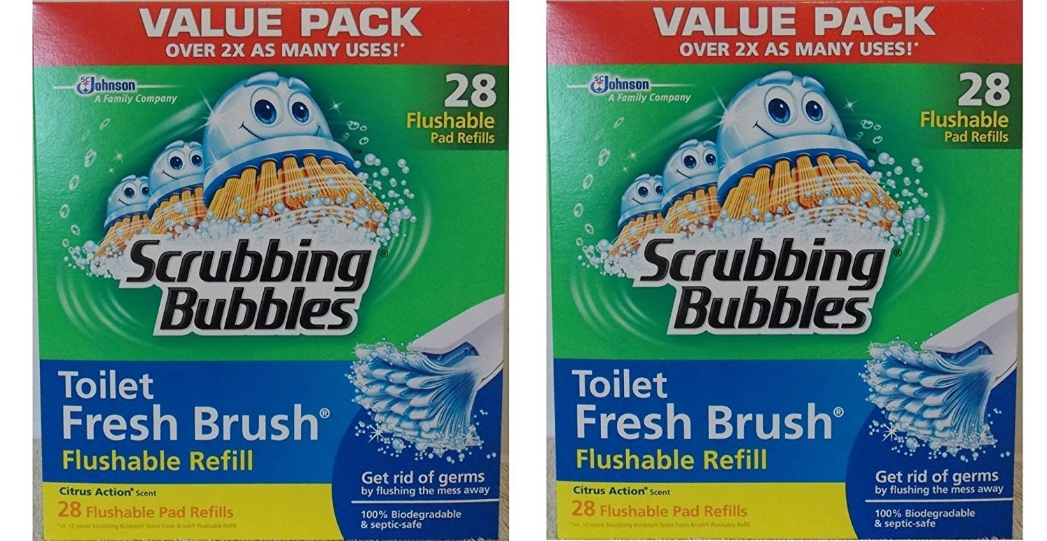 Scrubbing Bubbles Toilet Fresh Brush Flushable Refills, Citrus Scent, 28 Count (Pack of 2) by Scrubbing Bubbles (Image #1)
