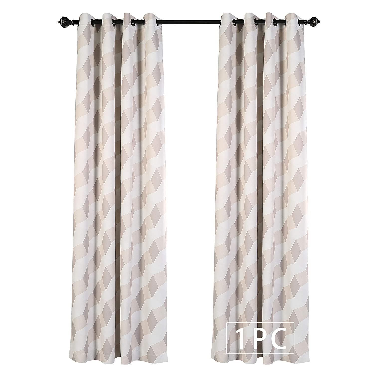 Buy Mysky Home 3d Geometry Fashion Design Print Thermal Insulated Blackout Curtain With Grommet Top For Living Room 52 By 84 Inch Beige 1 Panel Online At Low Prices In India Amazon In