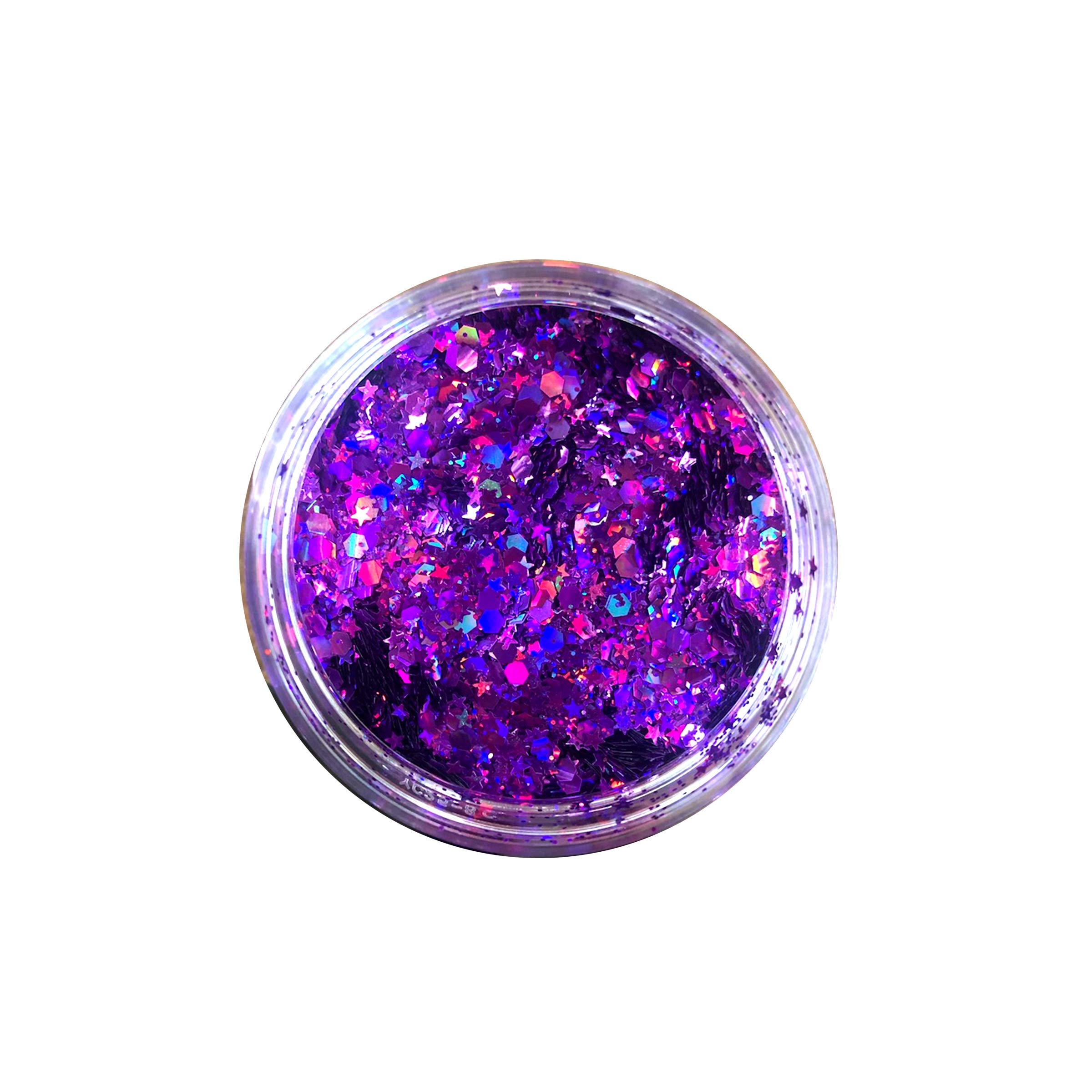Neva Nude Berry Michevious Purple Large Makeup Artist Pot Holographic Chunky Loose Glitter Sparkle 238ML Festival Rave Face Body Hair by Neva Nude (Image #2)