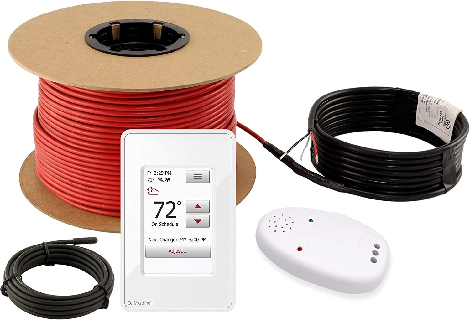 LuxHeat Floor Heating Cable Set, 80 Sqft - 240v Electric Radiant Floor Heating System Under Tile, Laminate. Underfloor Heating Kit Includes Cable, OJ Microline WIFI Programmable Thermostat with GFCI