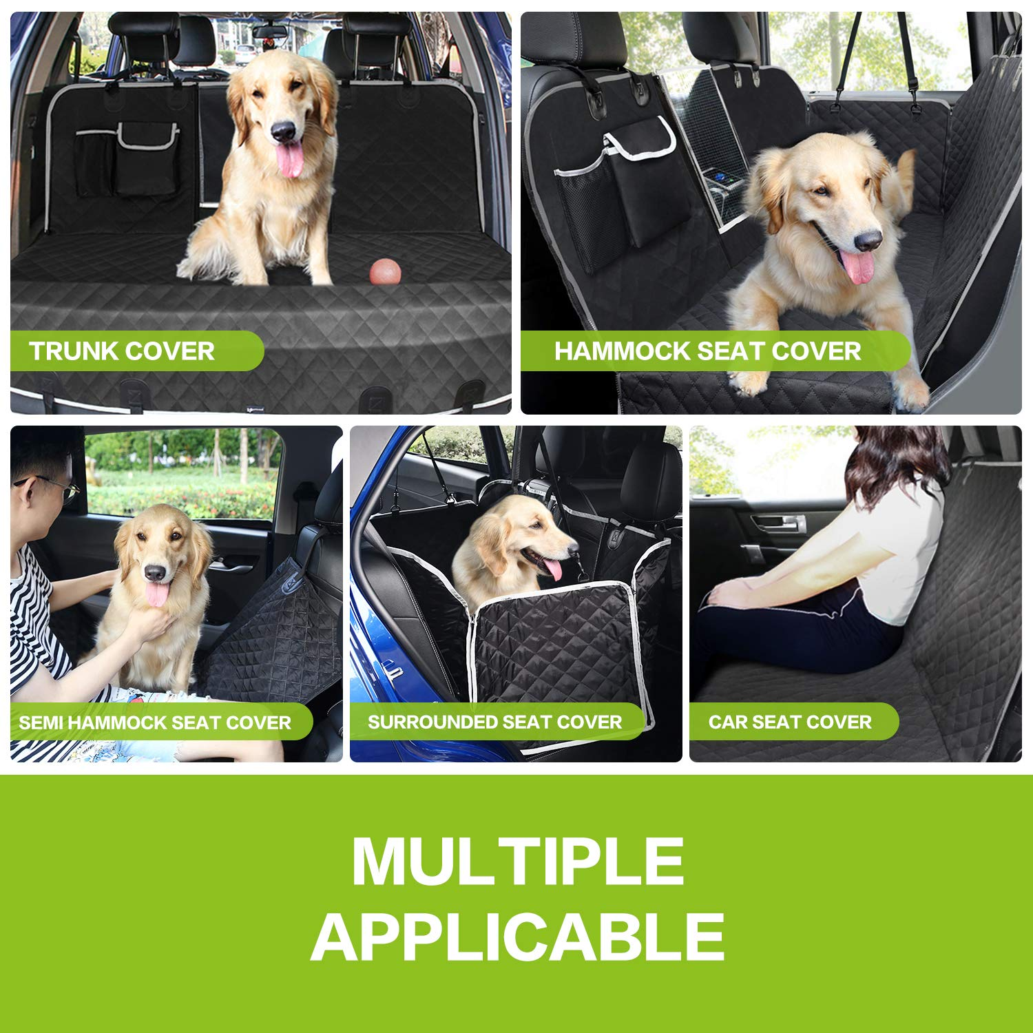 Pecute Pet Back Vehicle Cushion Full Enclosure Waterproof & Thickened Durable Belt with Perspective Net & Receiving Bag, Suitable for Various Types of Vehicles