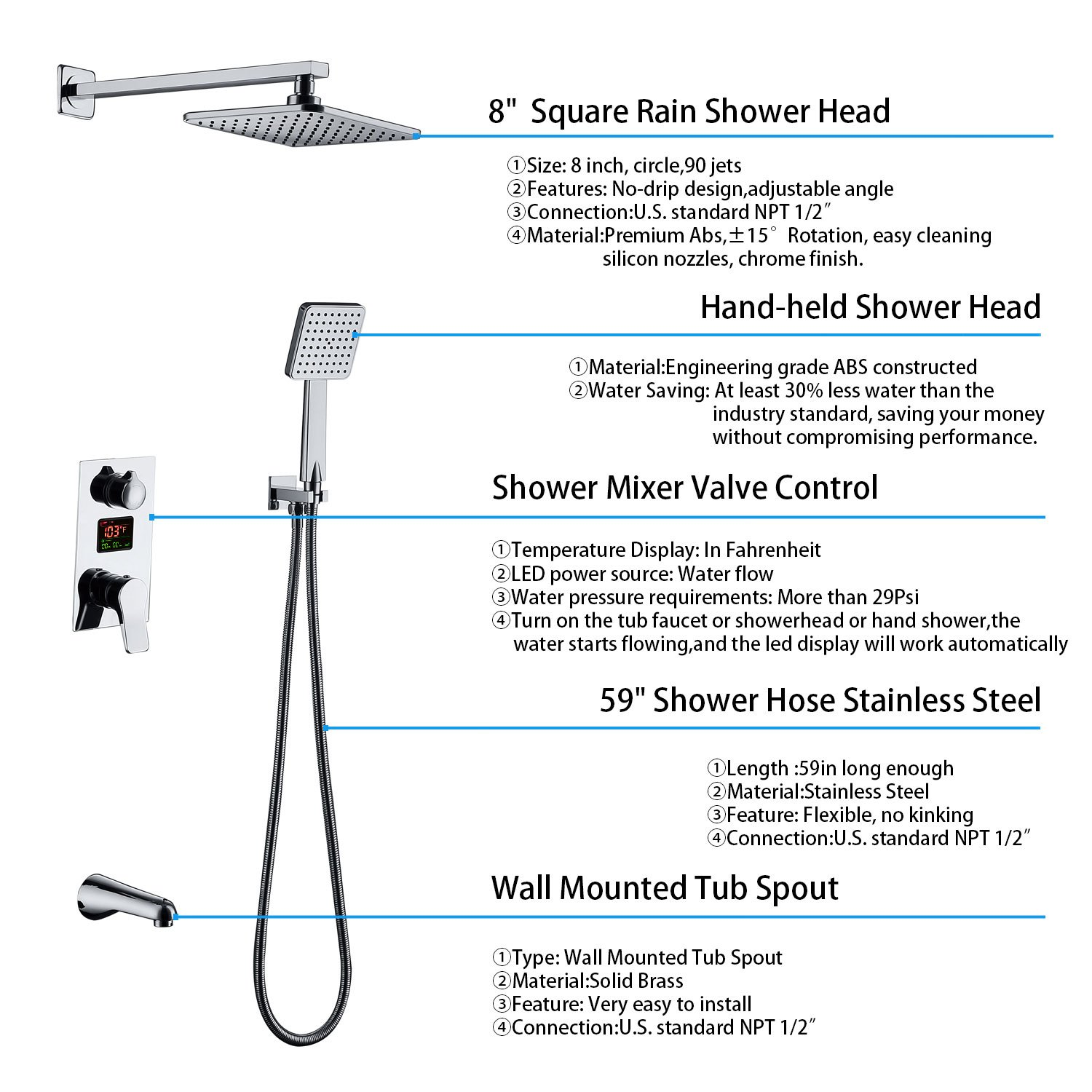 Derpras DPS003 LED Digital Display Wall Mount Bathroom Rain Mixer Shower Set, 3 Way Shower System with Luxury Rainfall Shower Head, Handheld Shower and Tub Spout Faucet, Fahrenheit Display by Derpras (Image #3)