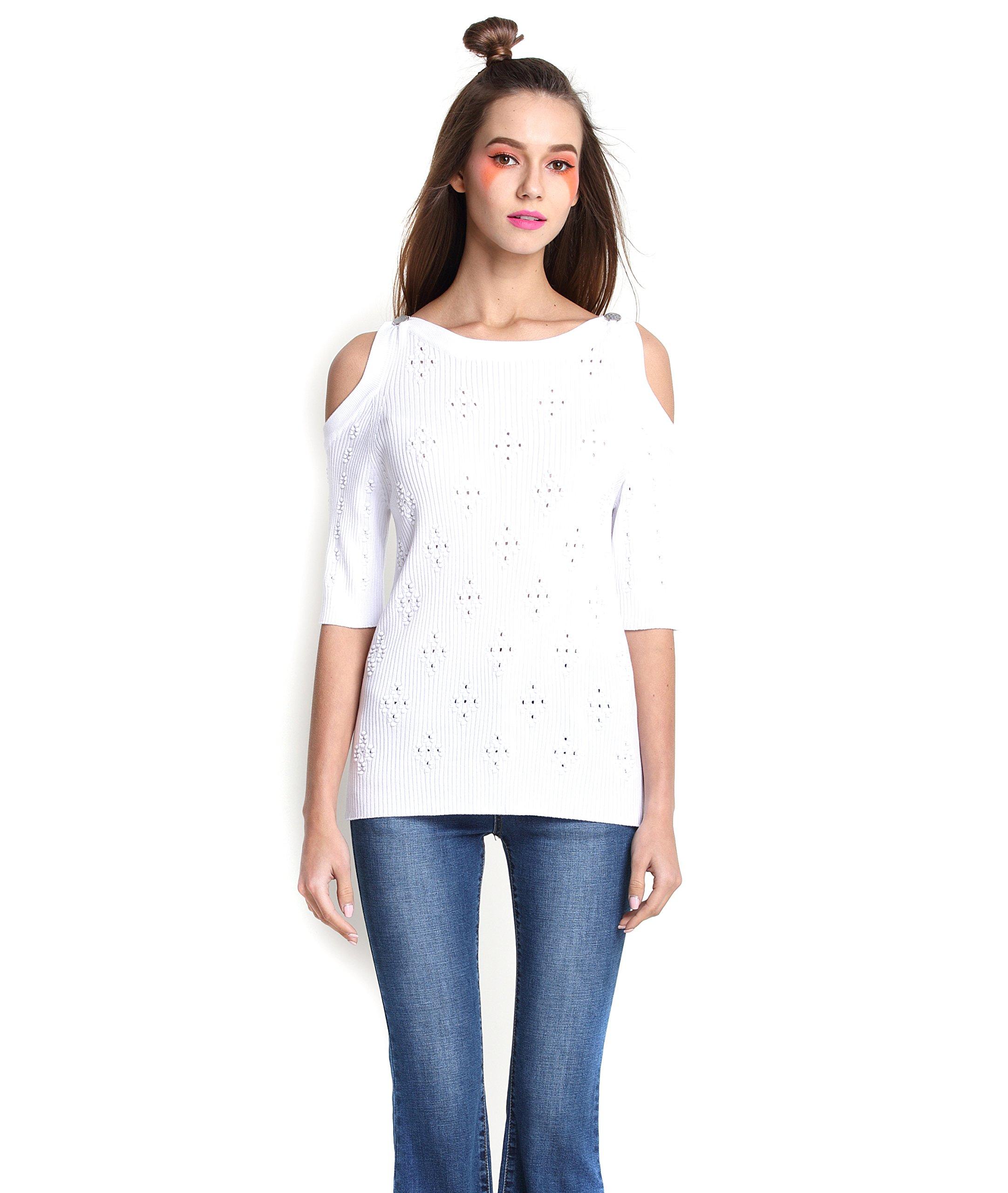 Eileen&Elisa Sweater Women Summer Casual Short Sleeve Knitted Short Pullover (White)