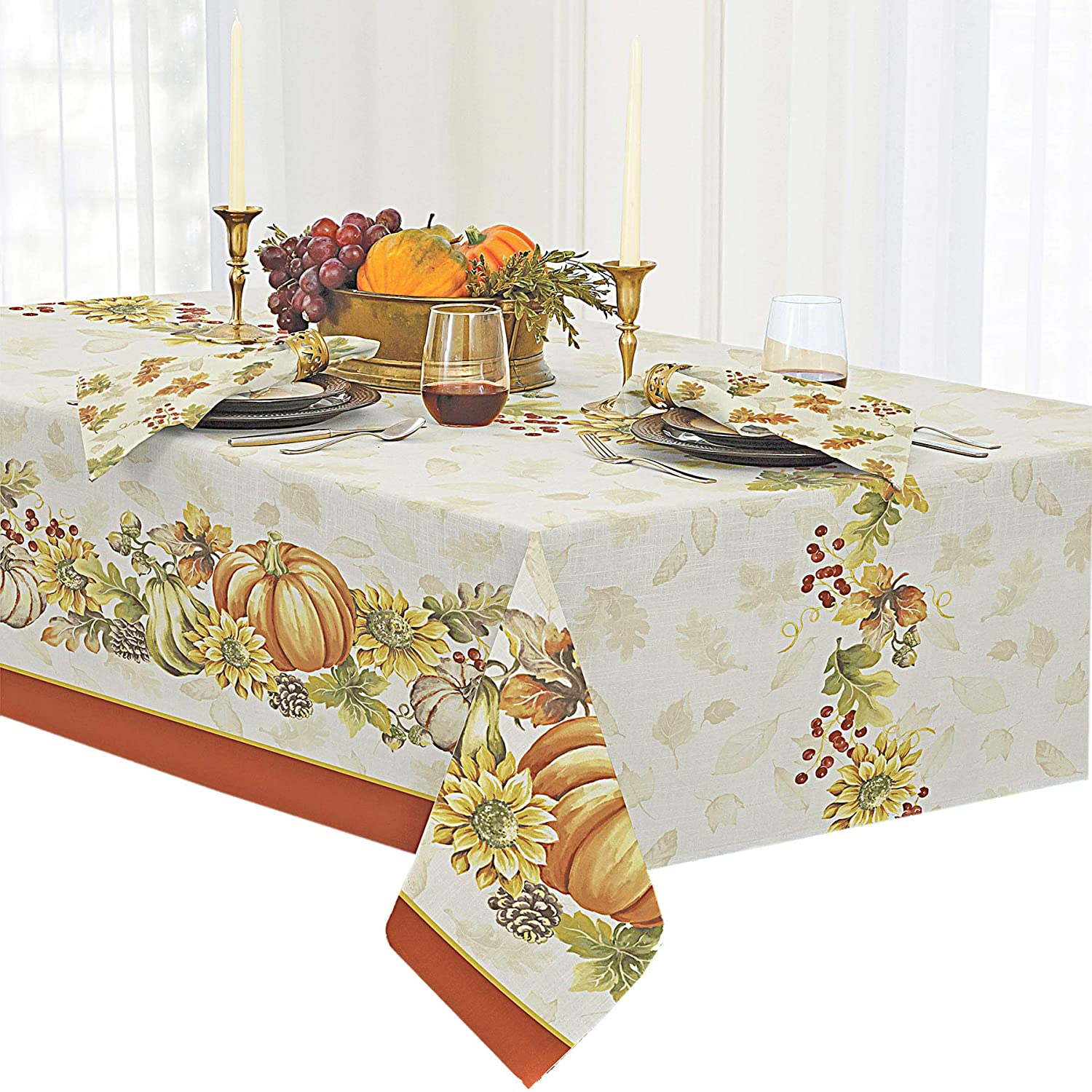 Newbridge Brilliant Autumn Double Border Thanksgiving Fabric Napkin Set, Fall Harvest Floral Napkins, Set of 8 Fabric Napkins