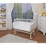 WALDIN Cuna colecho para bebé, cuna para bebé, con protector y colchón, lacado