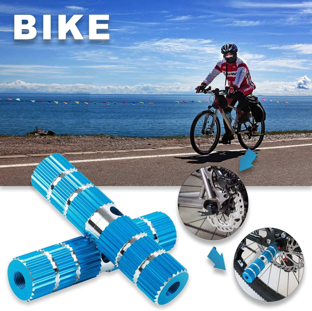 Reofrey Bike Pegs 2PCS Aluminum Alloy Foot Pedals Backseats Stands Rest Anti-Slip Stunt Pedal for BMX Mountain Bicycle Cycling Fit 3//8 inch Axles Blue 2.8 Length
