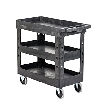 Amazon Com Pearington Utility Rolling Cart Multi Purpose Heavy Duty Service Cart Supplies Storage And Organizer 3 Tier With Wheels 500lb Loading Capacity Gray 3t 2typc Industrial Scientific