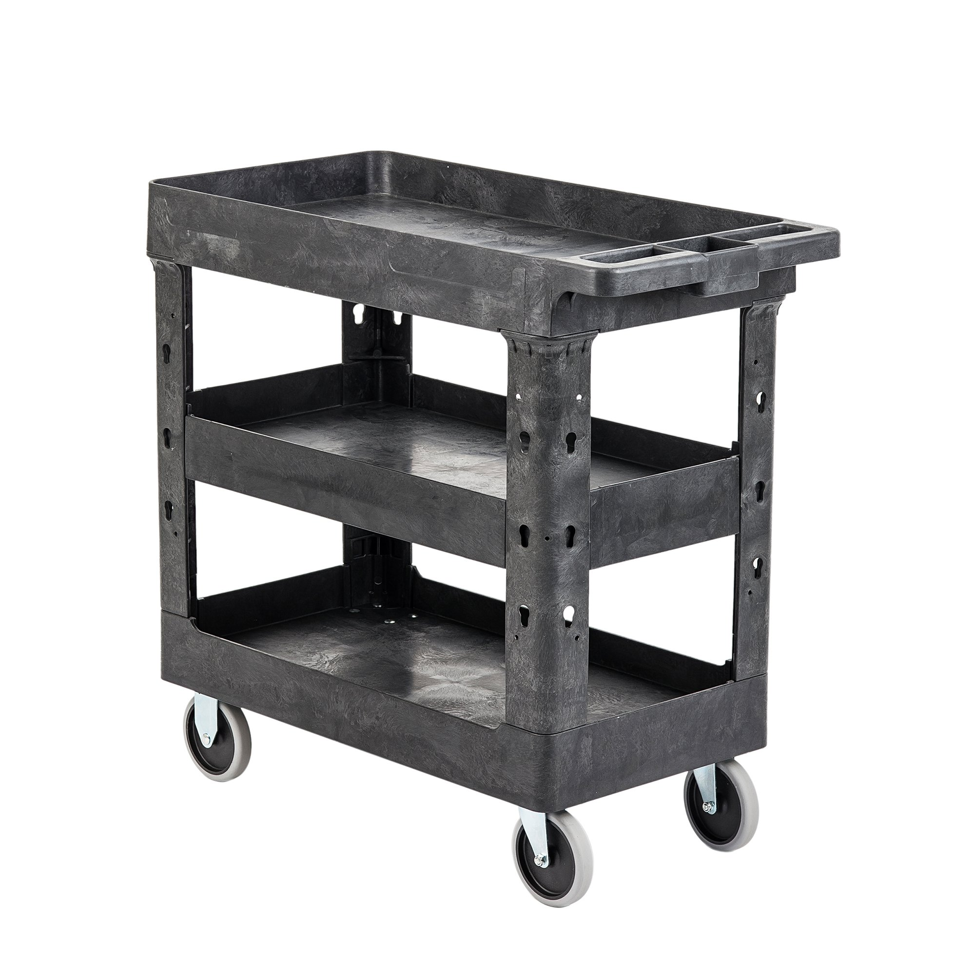 Pearington Utility Rolling Cart- Multi Purpose, Heavy Duty Service Cart; Supplies Storage and Organizer; 3 Tier with Wheels- 500lb Loading Capacity, Gray