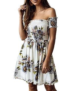 99be96933d6 Murimia Womens Summer Strapless Off Shoulder Floral Print Beach Mini Dress