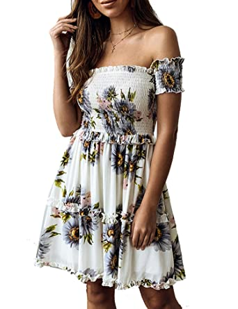 91252015069a Murimia Womens Summer Strapless Off Shoulder Floral Print Beach Mini Dress  at Amazon Women's Clothing store: