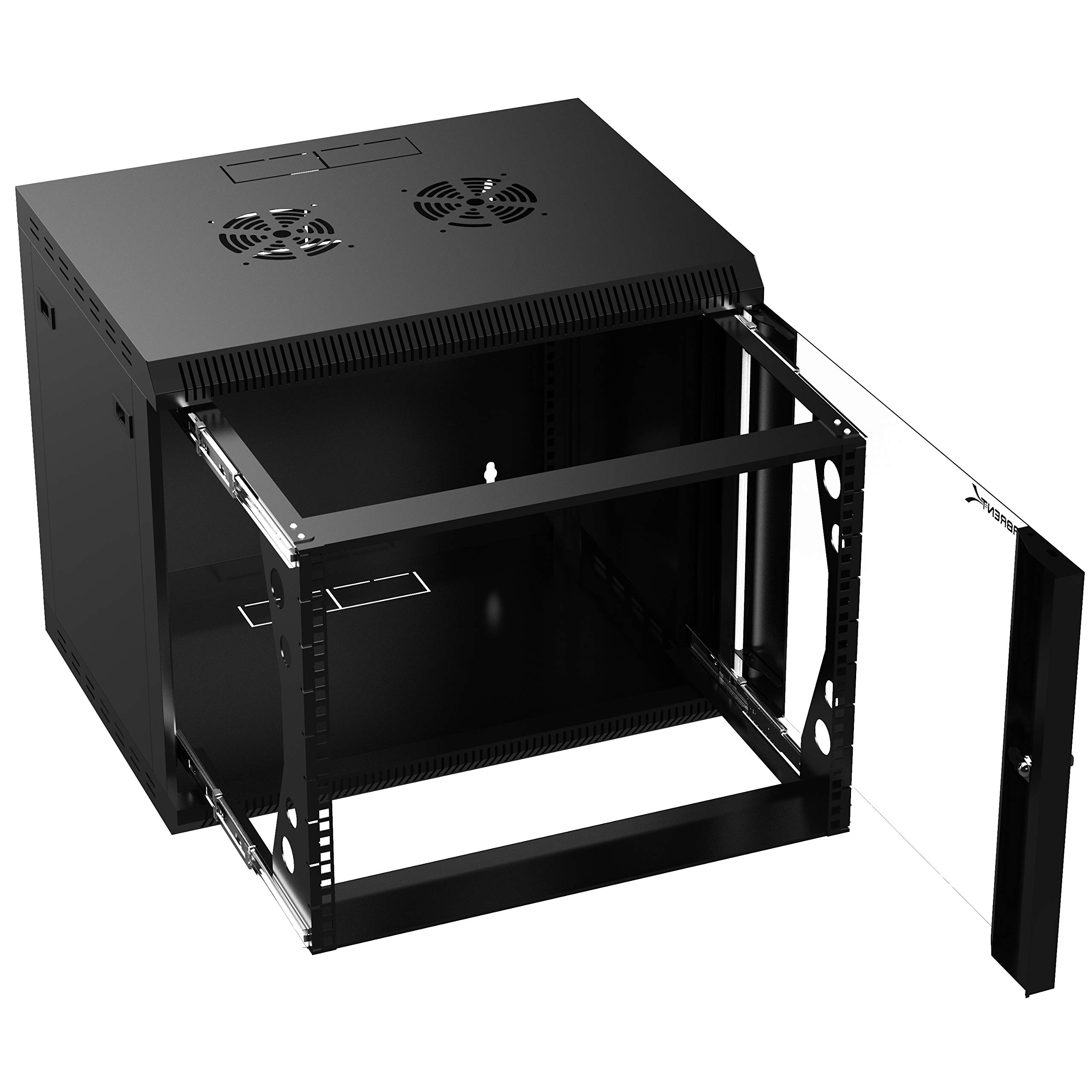 Sabrent 9U It Wall Mount Rack Enclosure 19 Inch Black Server Cabinet with Locking Glass Door and Pull-Out Drawer - Fully Assembled (CT-POWG)