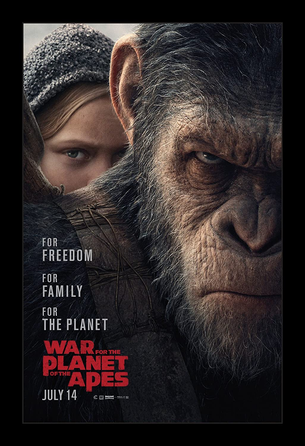 War For The Planet OF The Apes - 11x17 Framed Movie Poster by Wallspace