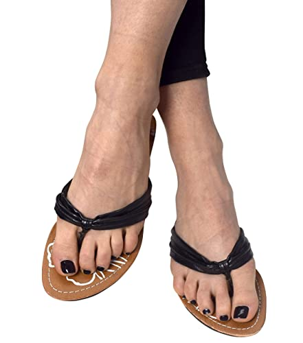 76870ad6366fa4 Peach Couture Double Strap Floral Lightweight Comfortable Yoga Thong Sandals  Black 6