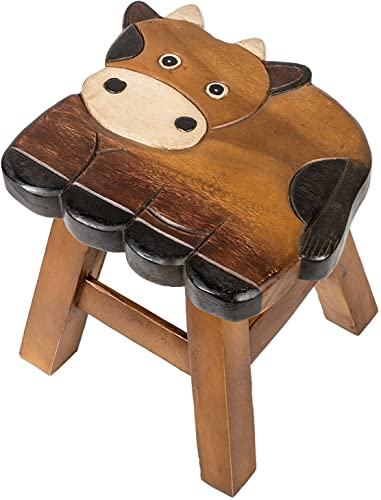 Sea Island Imports Cow Design Hand Carved Acacia Hardwood Decorative Short Stool