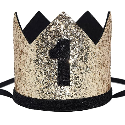 9f61d2bcfdf Maticr Glitter Baby Boy First Birthday Crown Number 1 Headband Little  Prince Princess Cake Smash Photo