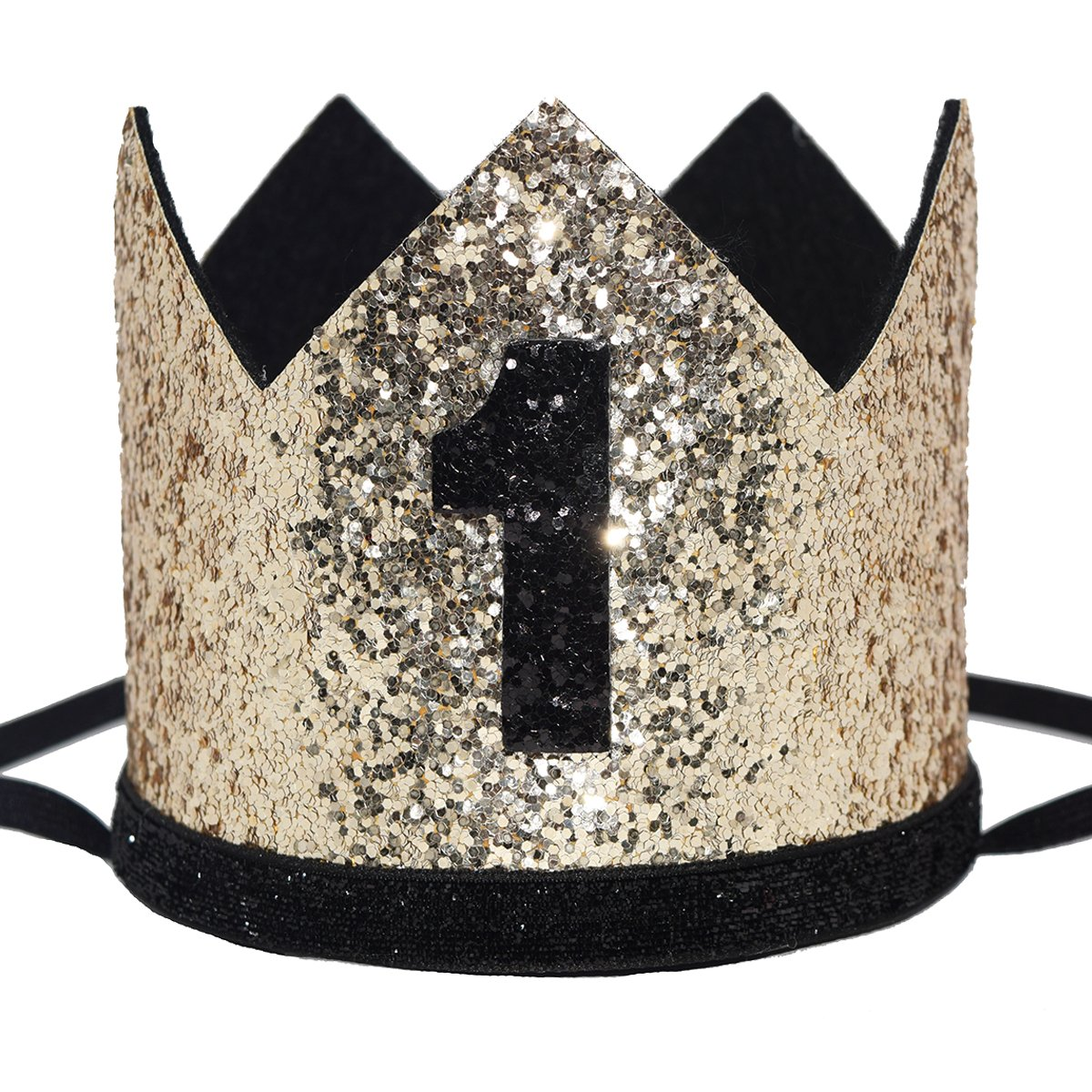 Maticr Glitter Baby Boy First Birthday Crown Number 1 Headband Little Prince Princess Cake Smash Photo Prop (Large Gold & Black 1)