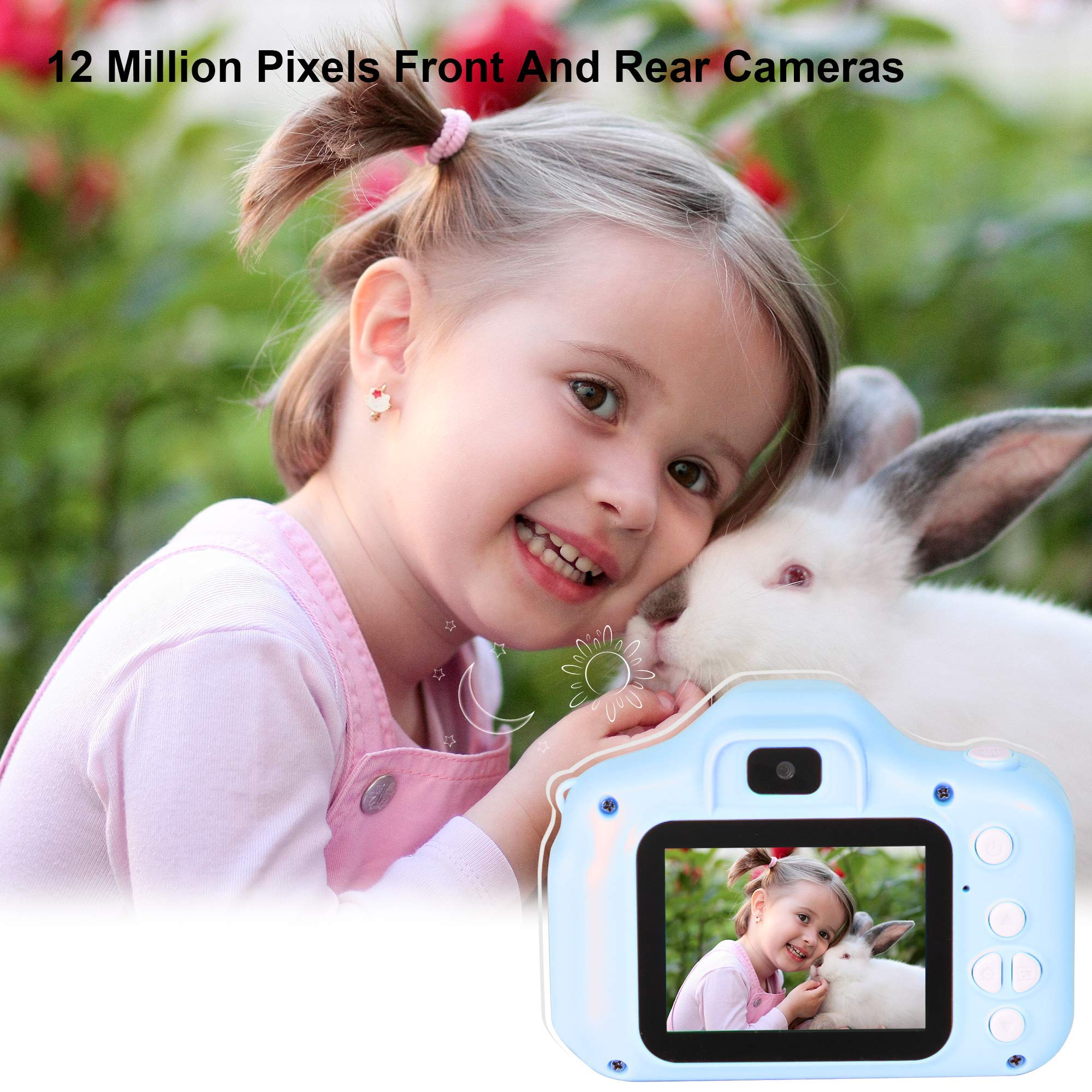 le-idea Kids Camera 1080P Dual 12MP Mini 2.0 inch IPS Display Shockproof Child Digital Selfie HD Camera Camcorder Gifts for 3-10 Year Old Girls & Boys Outdoor Play, Blue (32GB Memory Card Included) by le-idea (Image #2)