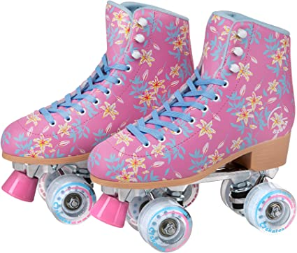 Black, Youth 4 // Womens 5 C SEVEN Skate Gear Cute Roller Skates for Kids and Adults