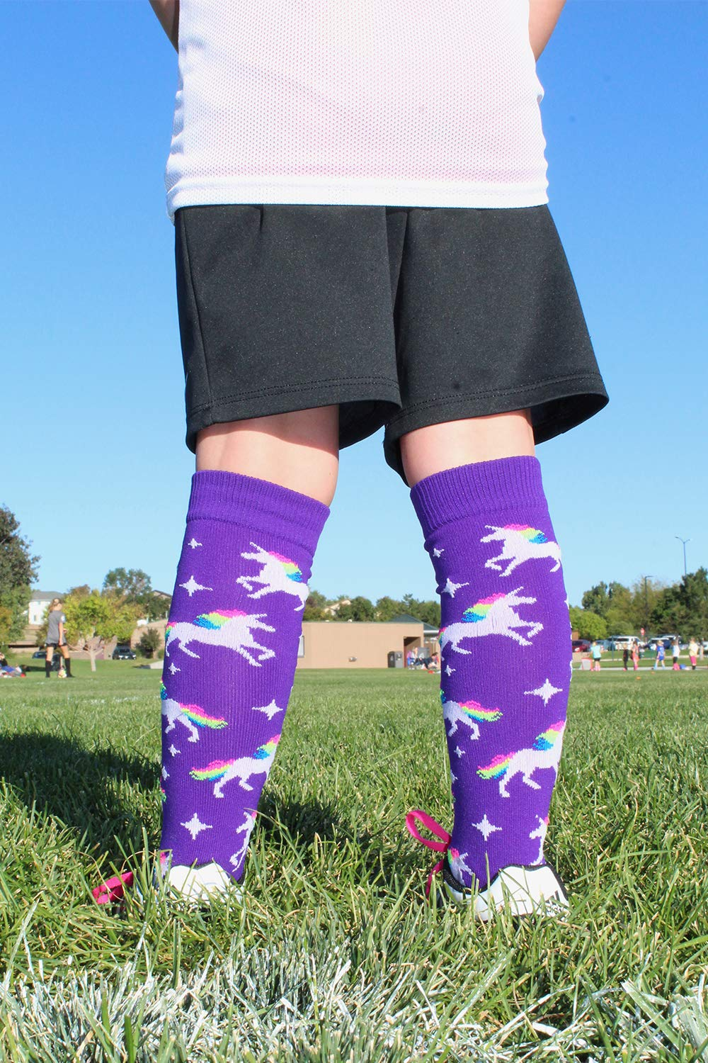 MadSportsStuff Neon Rainbow Unicorn Athletic Over The Calf Socks 7