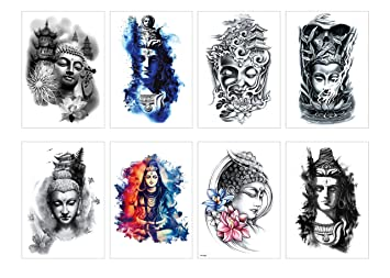 PAMO 8 Sheets Body Art - Tatuaje de Buda - Pegatinas Tatuaje ...
