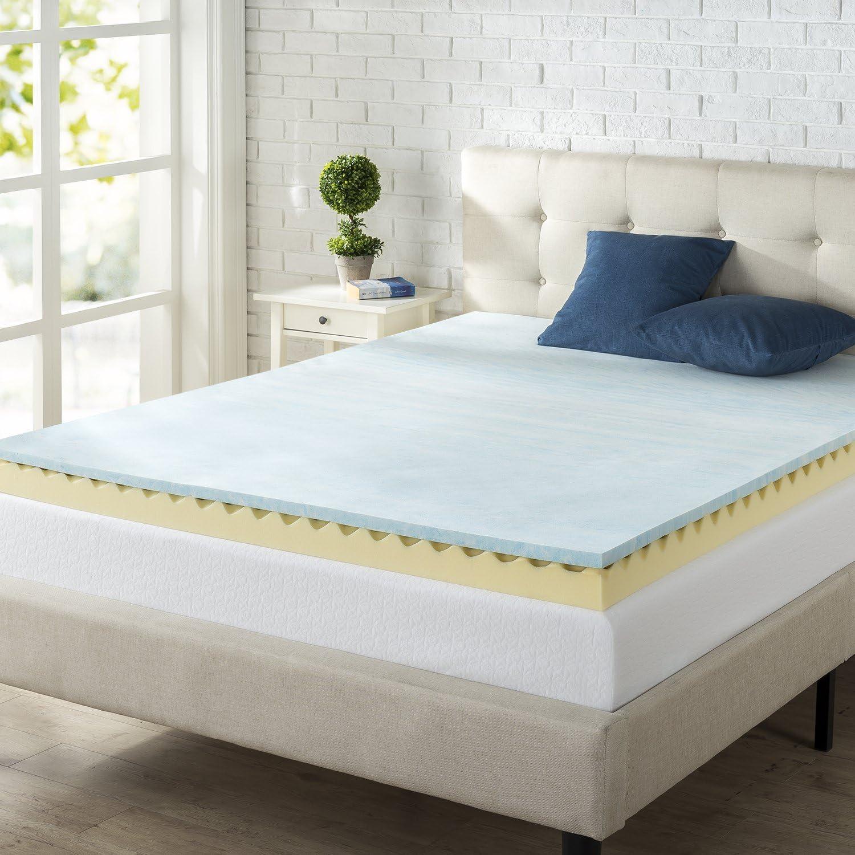 Amazon Com Zinus 4 Inch Swirl Gel Memory Foam Air Flow Queen Topper Home Kitchen