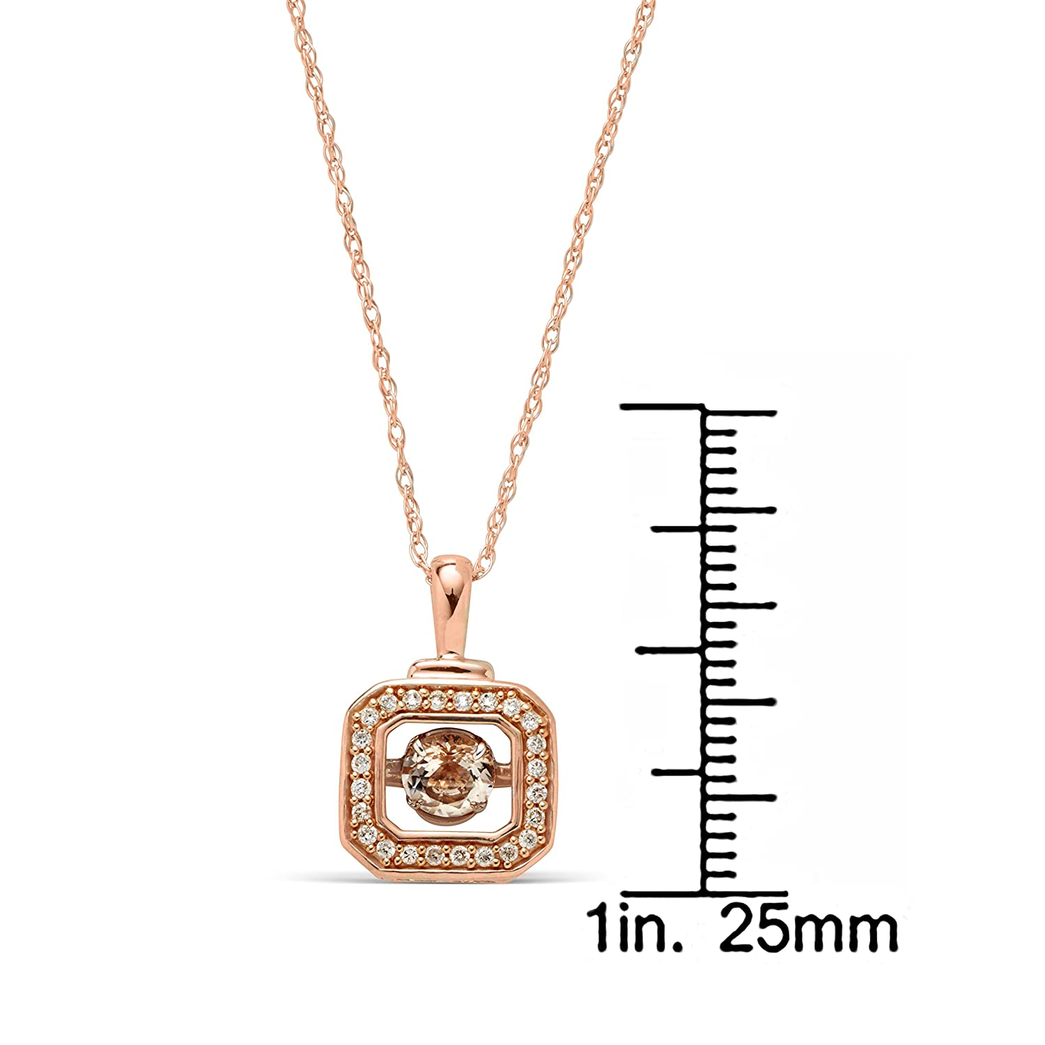 """Rose Pink Sterling Silver Morganite and 1//10 ct TDW Diamond Pendant Necklace 18/"""""""