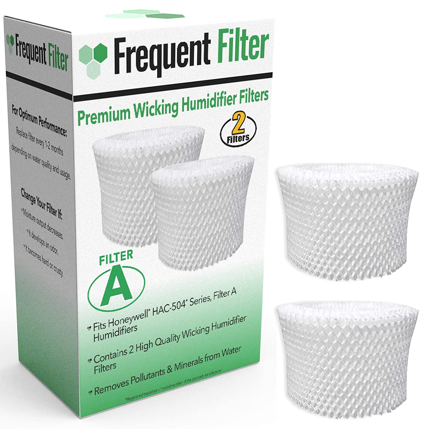 Frequent Filter - Compatible Honeywell Germ Free Cool Mist Wicking Humidifier, Filter A. Fits HCM 350, HCM350w, HCM350, Quietcare More. Replacement HAC 504, HAC504, 504AW - (Pack of 2)