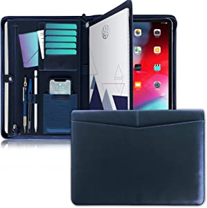 UNIMIRA Zippered Leather Portfolio Padfolio, Navy Blue, Business Case Organizer for Ipad 12.9 2015-2017, Letter Notepad Binder, Men and Women, Professional Gift Binder, iPad Sleeve for Travelling