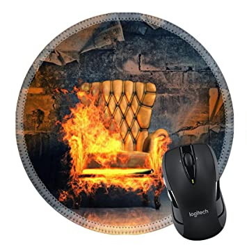 MSD Mousepad Round Mouse Pad/Mat 34132550 Burning Armchair In The Grunge  Interior 3D Illustration