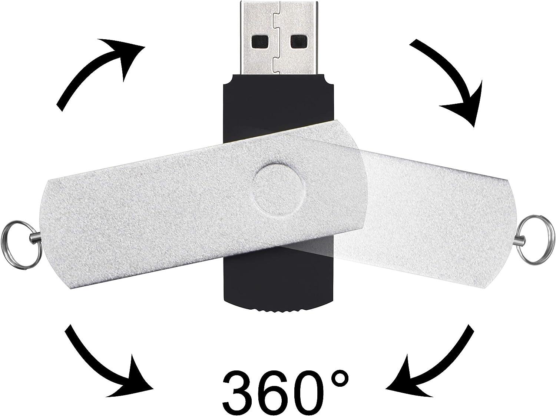Multicolored 32GB USB 3.0 Flash Drive 5 Pack Metal Bulk Thumb Drives High Speed Swivel Jump Drive 32 GB Kepmem Portable Zip Drive Capless Pen Drive USB3.0 Memory Stick