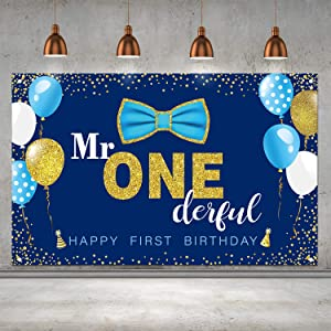 Boys 1st Birthday Mr. Onederful Party Decoration Photography Backdrop Boy Toddler Little Man First Birthday Cake Table Decor Banner (Blue)