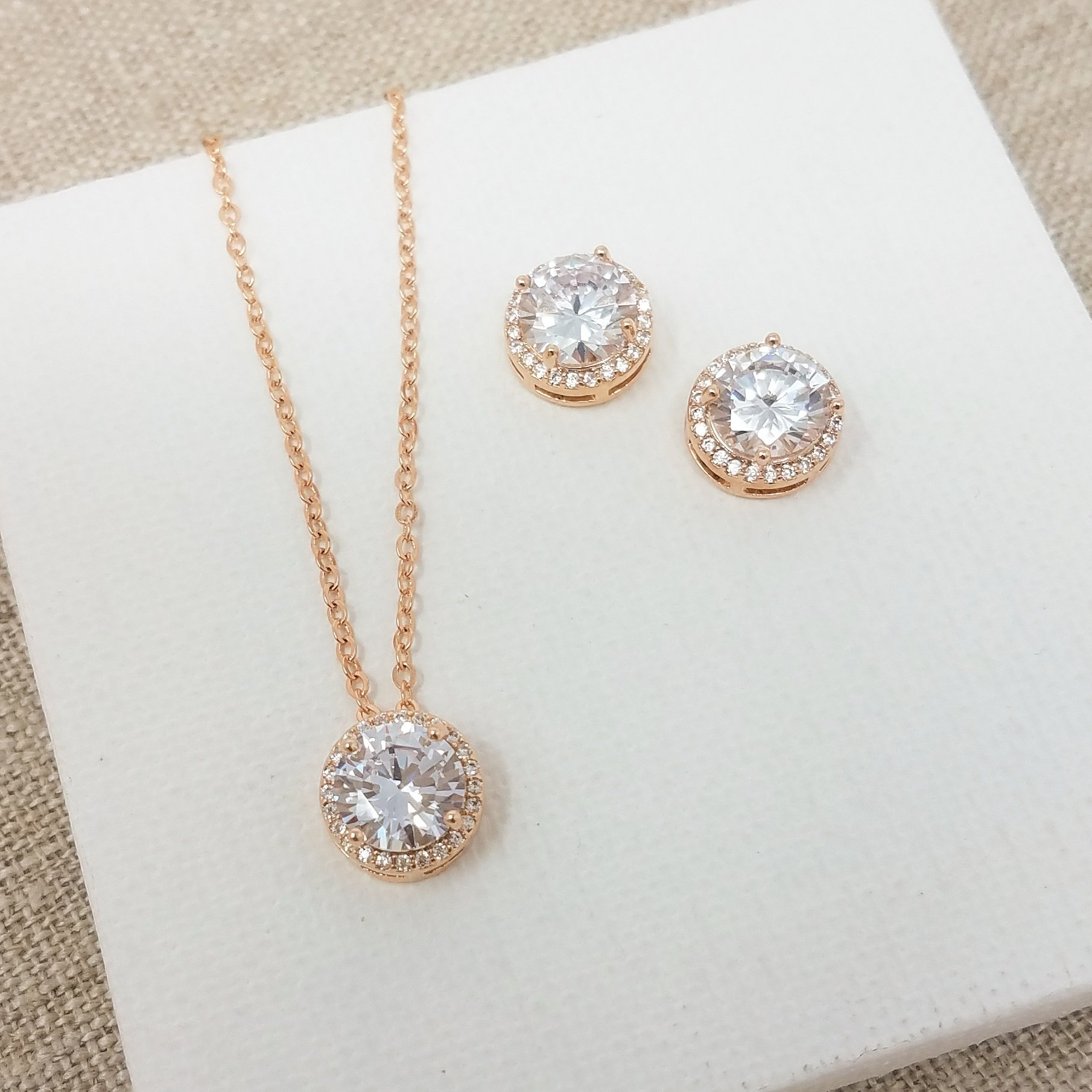 Bridesmaid Gifts - Pretty Halo Cubic-Zirconia Necklace & Earrings Set (18'', Rose gold) by Bride Dazzle (Image #5)