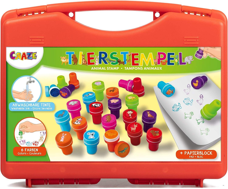CRAZE- Estuche de estampillas Stamp Case 26 Sellos para niños con ...