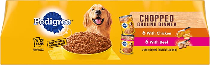 PEDIGREE Chopped Ground Dinner With Beef & With Chicken Adult Canned Wet Dog Food Variety Pack, (12) 13.2 oz. Cans